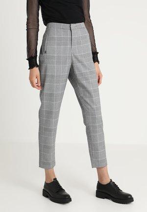 ONLLESLIE CHECK CIGARETTE PANT - Spodnie materiałowe - medium grey melange