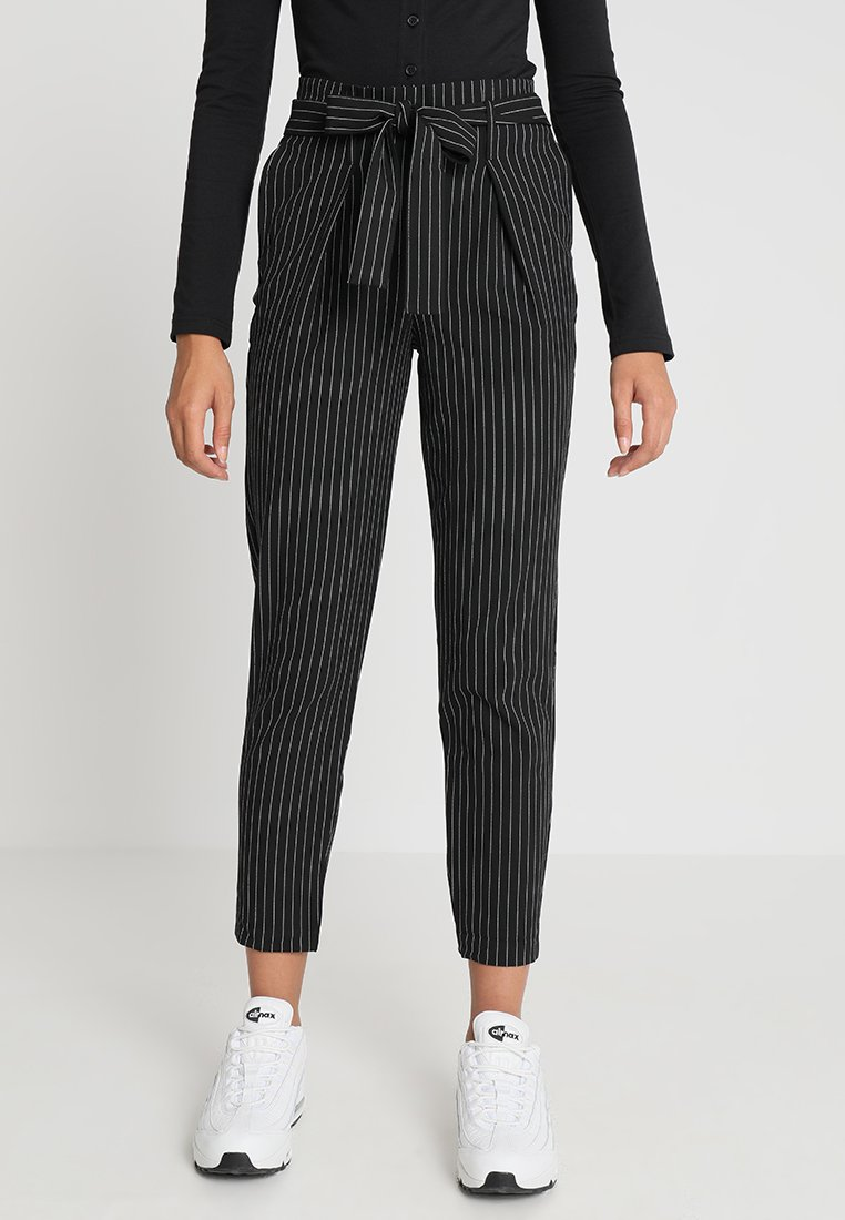 ONLY - ONLNICOLE PINSTRIPE PANTS - Trousers - black