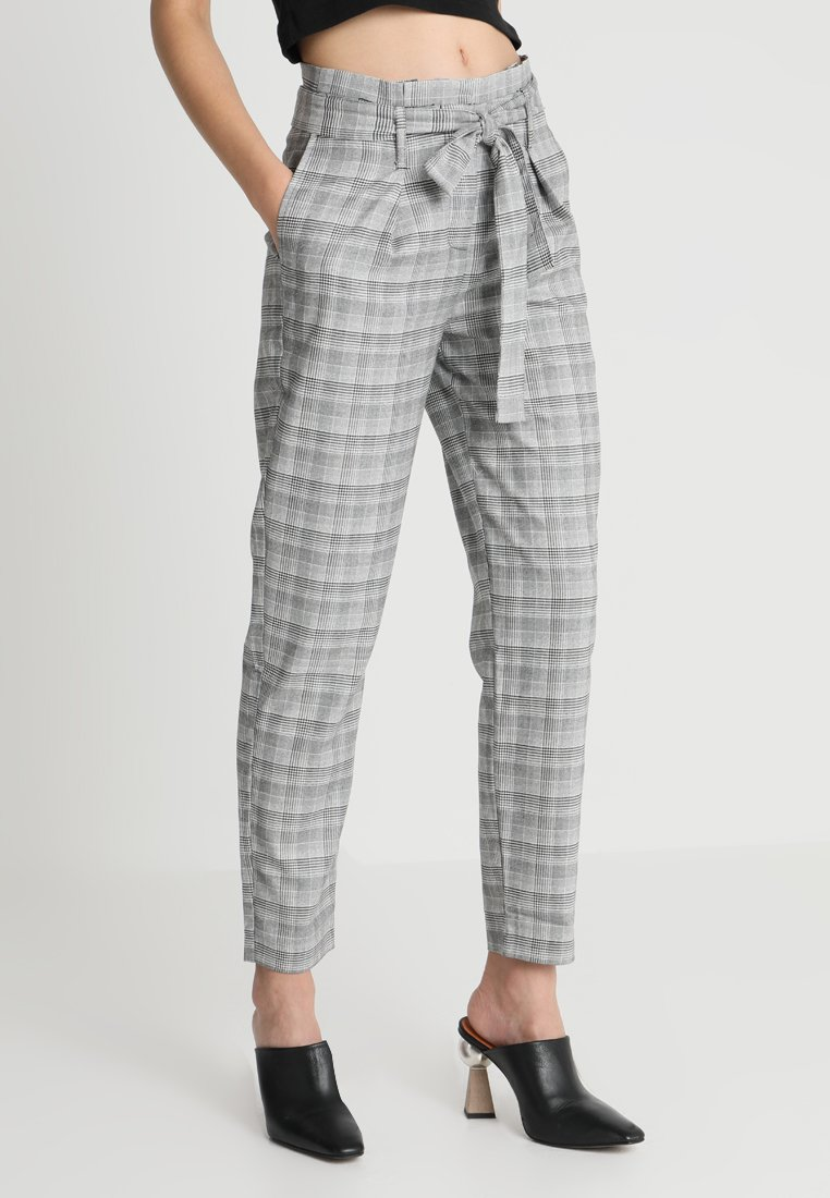 ONLY - ONLNICOLE CHECK PANTS - Trousers - light grey melange