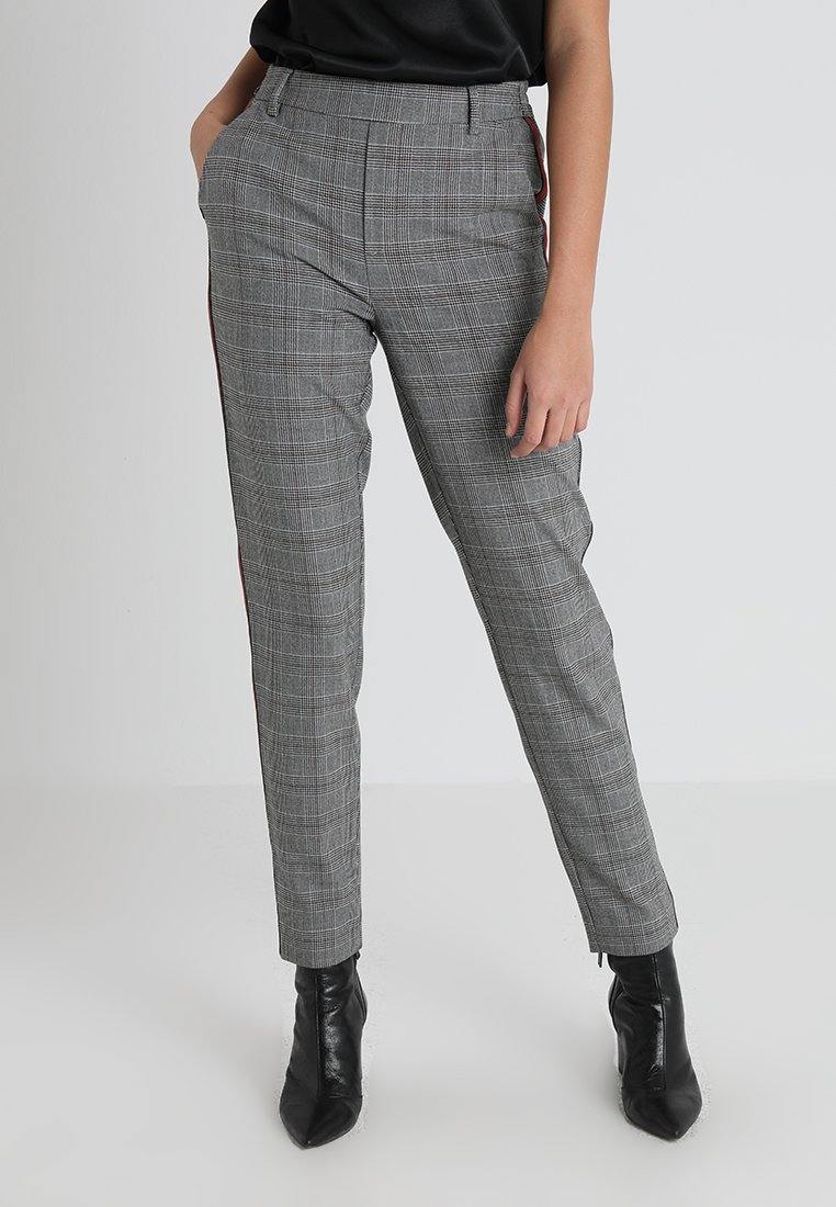 ONLY - ONLCOOL ANK CHECK PANEL PANT - Trousers - medium grey melange