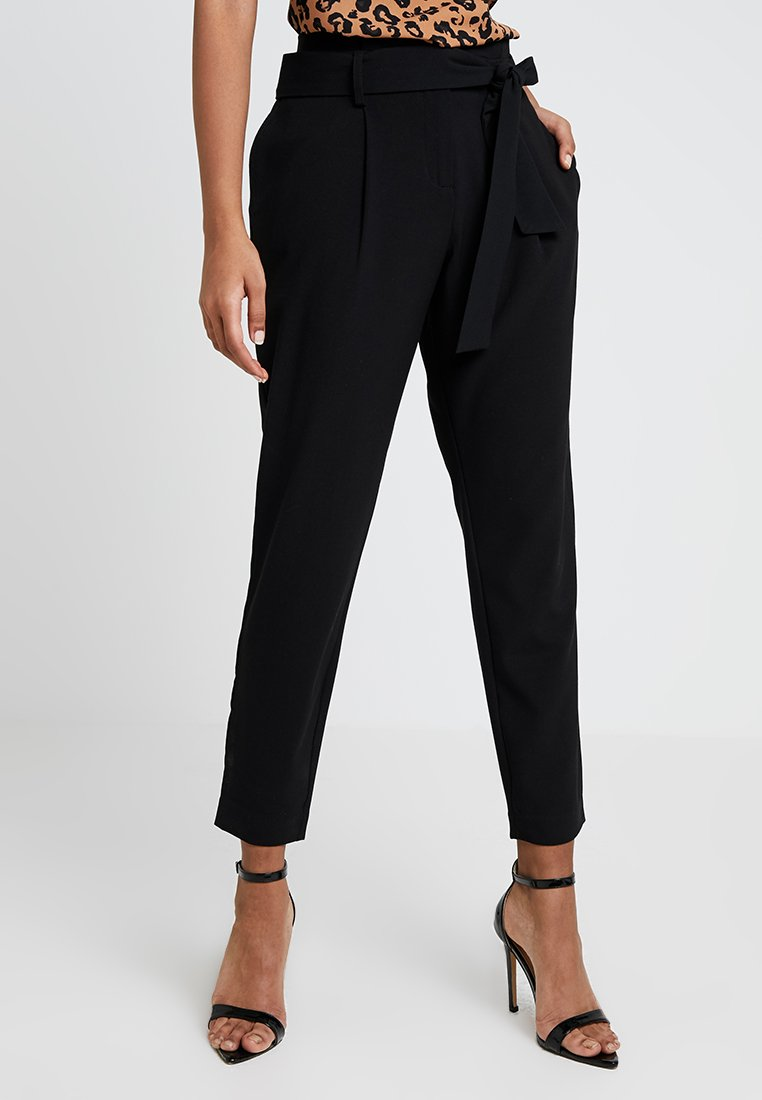 ONLY - ONLFINI PAPERBAG ANKLE PANT - Trousers - black