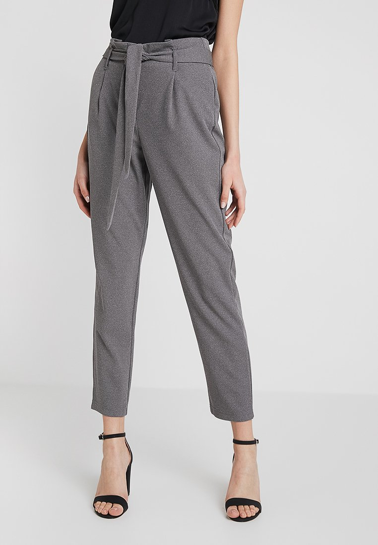 ONLY - ONLLOTTA BELT PANT - Trousers - dark grey melange