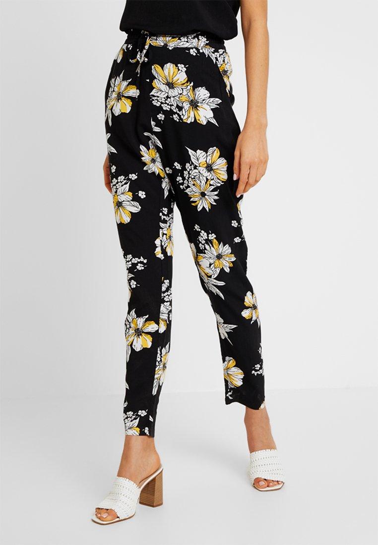 ONLY - ONLNOVA PANT - Trousers - black/yellow