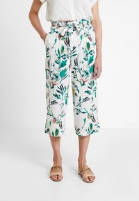 ONLY - ONLNOVA CROPPED PALAZZO PANT  - Stoffhose - cloud dancer/green - 0