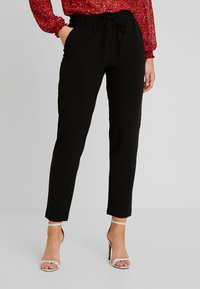 ONLY - FINI RUFFLE WAIST PANTS  - Trousers - black - 0