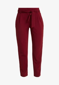 ONLY - ONLCAROLINA BELT PANTS - Trousers - merlot - 4