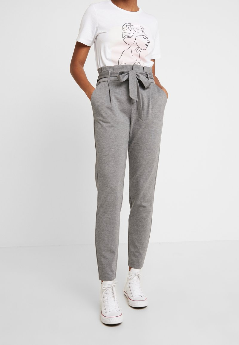 ONLY - ONLPOPTRASH EASY PAPERBAG PANT - Pantalones - medium grey melange