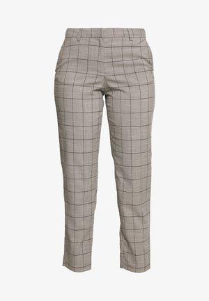 ONLSARAH CHECK PANT - Trousers - light grey melange/black