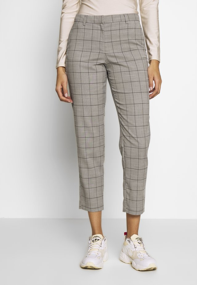 ONLSARAH CHECK PANT - Trousers - light grey melange/black