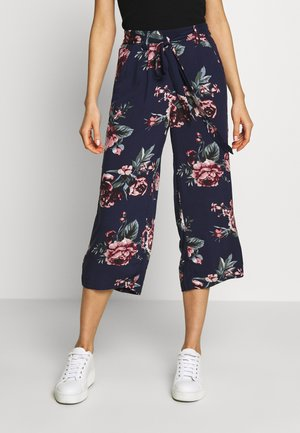 ONLNOVA LIFE CROP PALAZZO PANT - Pantalones - night sky/rose flower