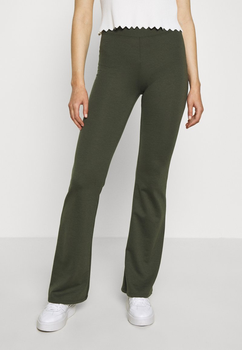 ONLY - ONLFEVER STRETCH FLAIRED PANTS - Trousers - forest night