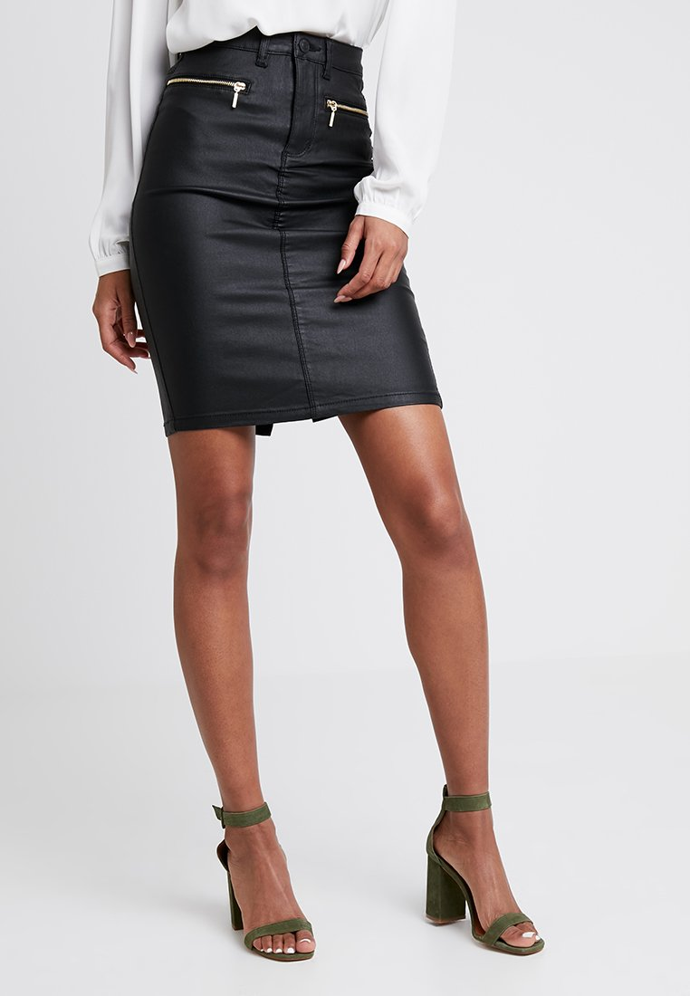 ONLY - ONLROYAL ZIP COATED SKIRT - Jupe crayon - black