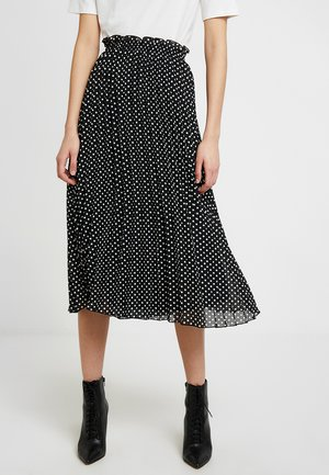 ONLFPAIGE LIFE ABOVE CALF SKIRT - Gonna a pieghe - black/white