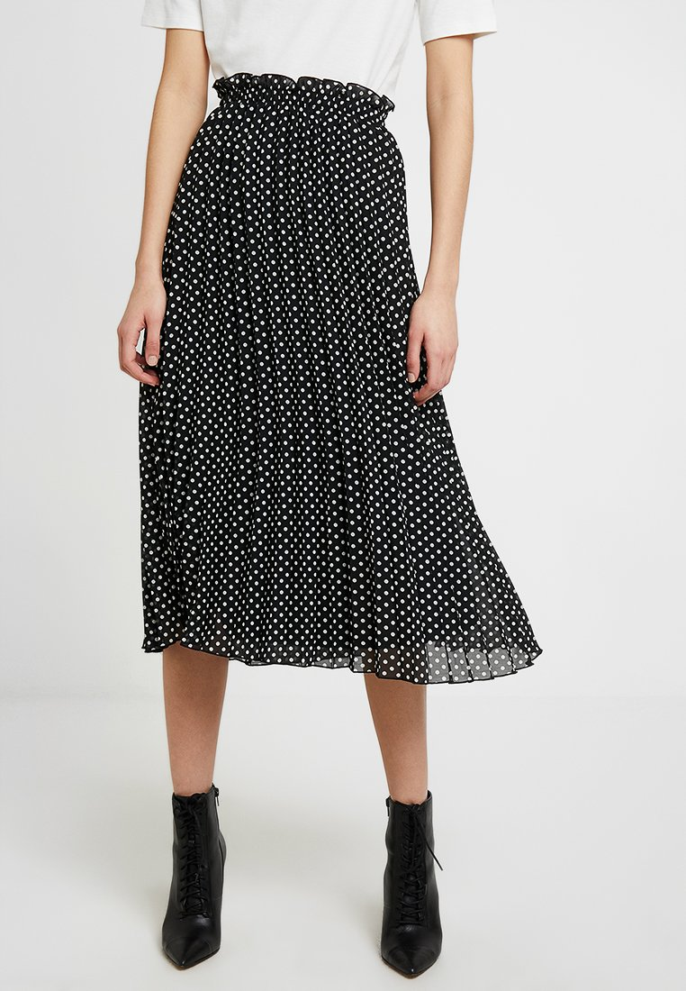 ONLY - ONLFPAIGE LIFE ABOVE CALF SKIRT - Gonna a pieghe - black/white