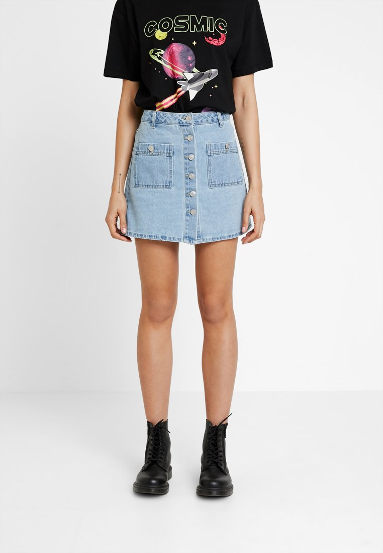 ONLY - ONLDITTE BUTTON SKIRT - A-Linien-Rock - light blue denim