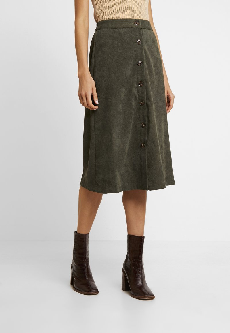 ONLY - ONLCORDY MIDI SKIRT - A-snit nederdel/ A-formede nederdele - kalamata