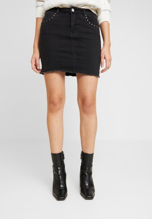 ONLCORRY STUD SKIRT - Denim skirt - black denim