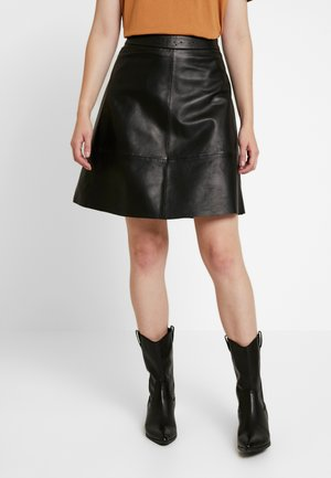 ONLLENA LEATHER SKATER SKIRT  - A-linjainen hame - black