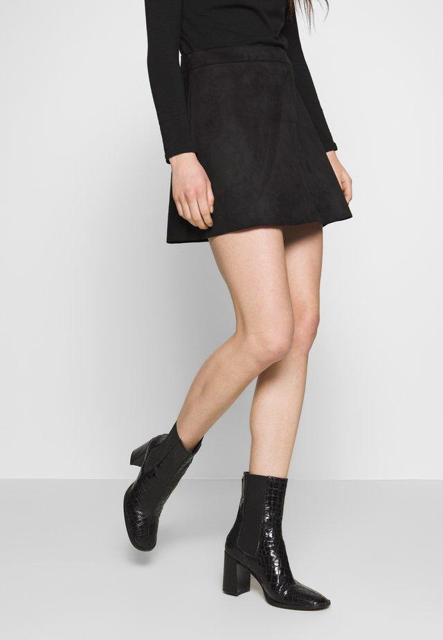 ONLLINEA BONDED - A-line skirt - black
