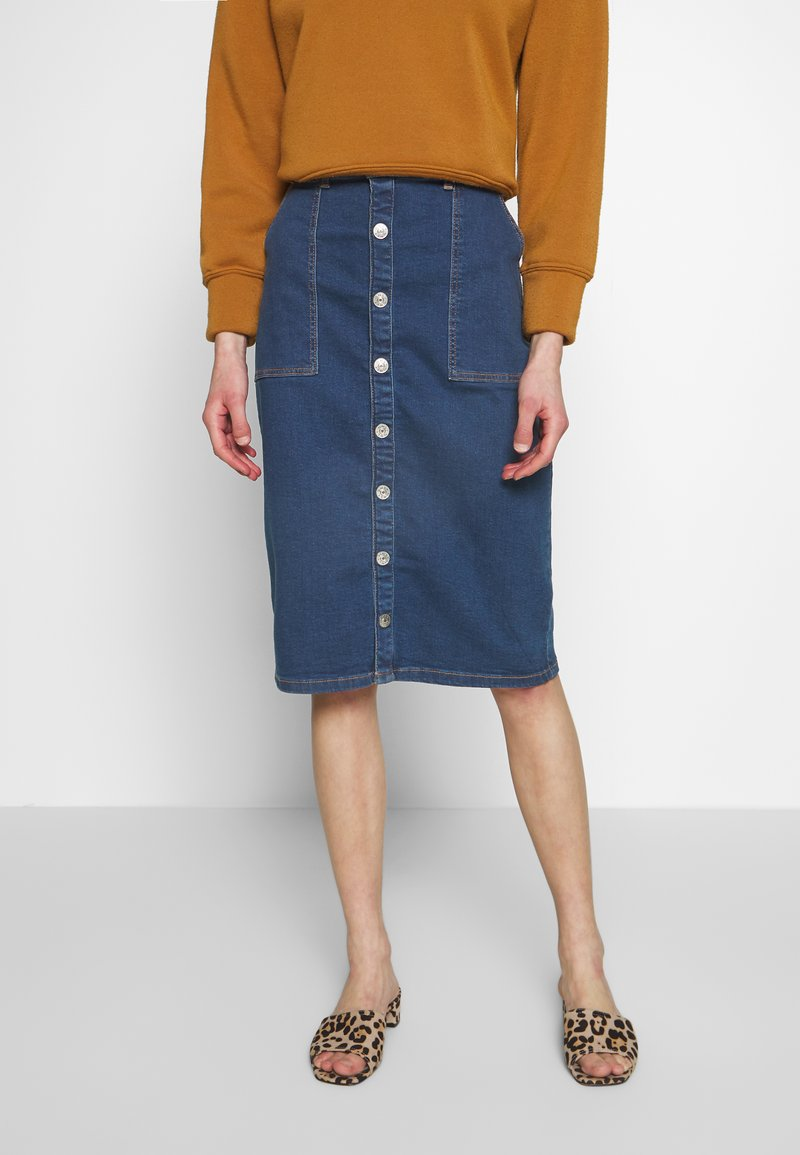 ONLY - ONLFLAKE SLIM SKIRT - Pouzdrová sukně - medium blue denim