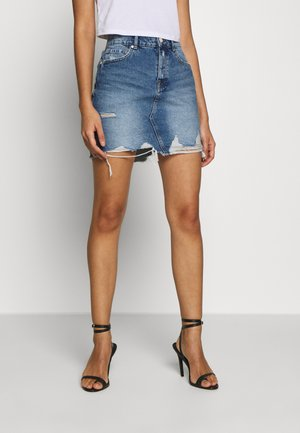 ONLSKY REG SKIRT - Denim skirt - dark blue denim