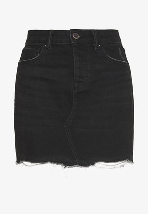 ONLSKY SKIRT RAW EDGE - Denimová sukně - black