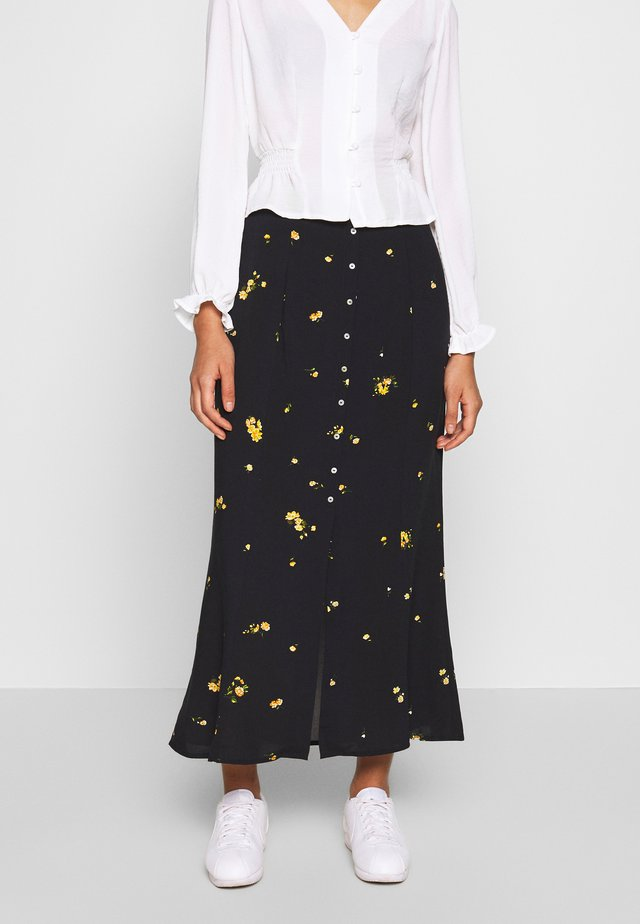 ONLALISA LIFE  MIDI SKIRT - Falda larga - black/yellow