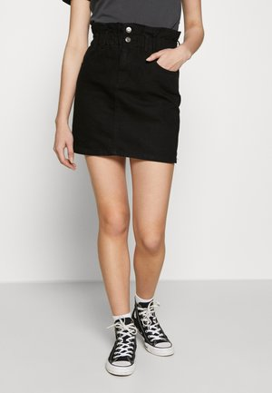 ONLMILLIE MINI PAPER SKIRT - Falda vaquera - black