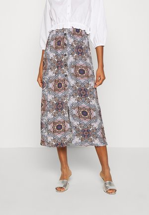 ONLNOVA LIFE LONG BUTTON SKIRT - A-line skirt - pumice stone/resort mandela