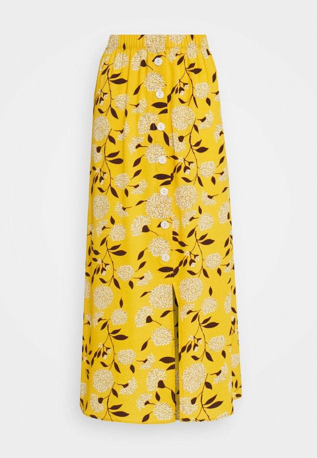 ONLNOVA  BUTTON SKIRT - Jupe longue - golden yellow/white