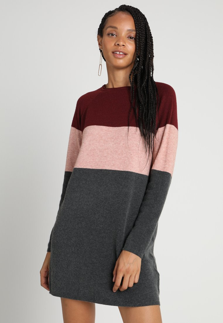 ONLY - NEW BLOCK DRESS - Jumper dress - chocolate truffle/w. misty rose mel