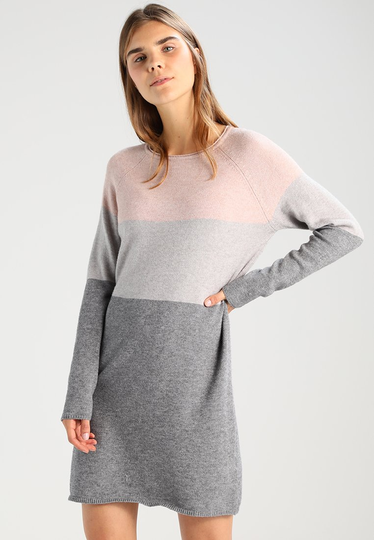 ONLY - NEW BLOCK DRESS - Jumper dress - mahogany rose/w melange/light grey