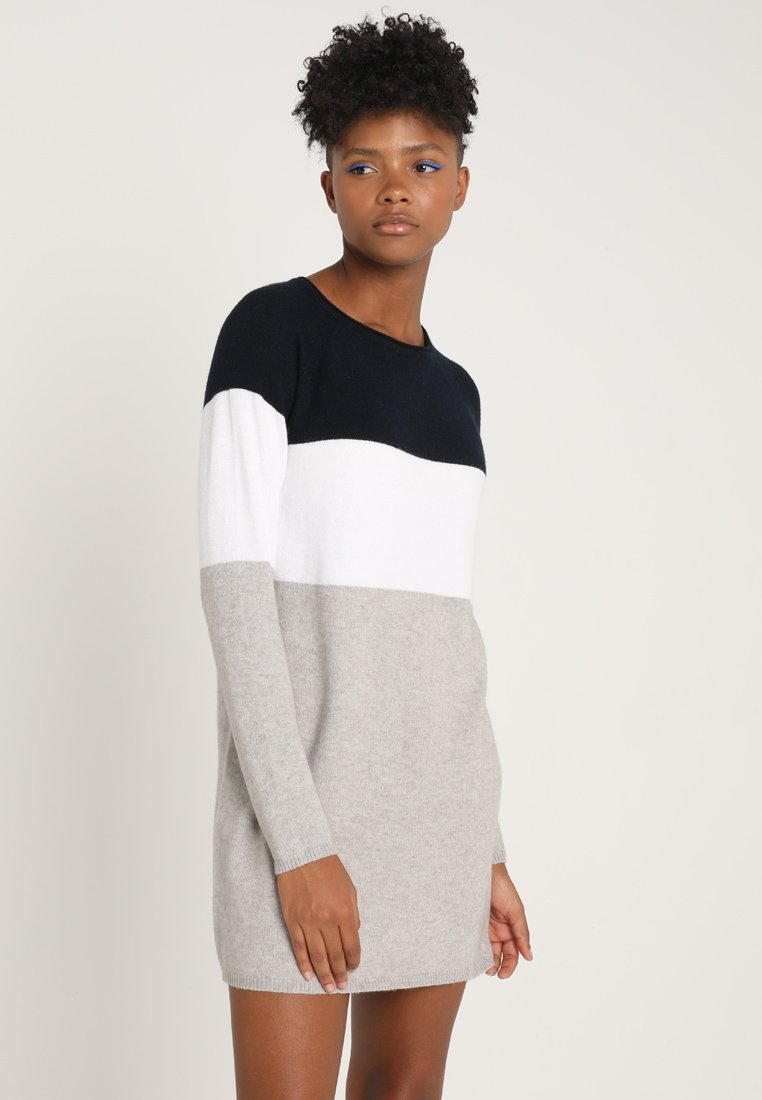 ONLY - NEW BLOCK DRESS - Jumper dress - night sky/w. white melange/lgm