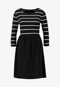 ONLY - ONLAMBER 3/4 FIT AND FLAIR DRESS - Robe en jersey - black/cloud dancer - 4