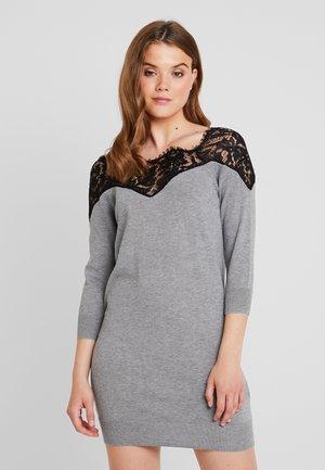 ONLALLY 3/4 SPRING DRESS - Vestido de punto - medium grey melange/black