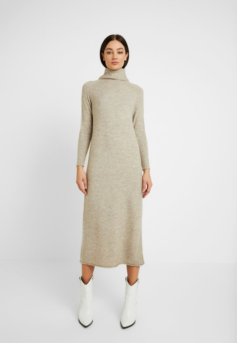 ONLY - ONLCLEAN ROLLNECK DRESS  - Robe longue - simply taupe/melange
