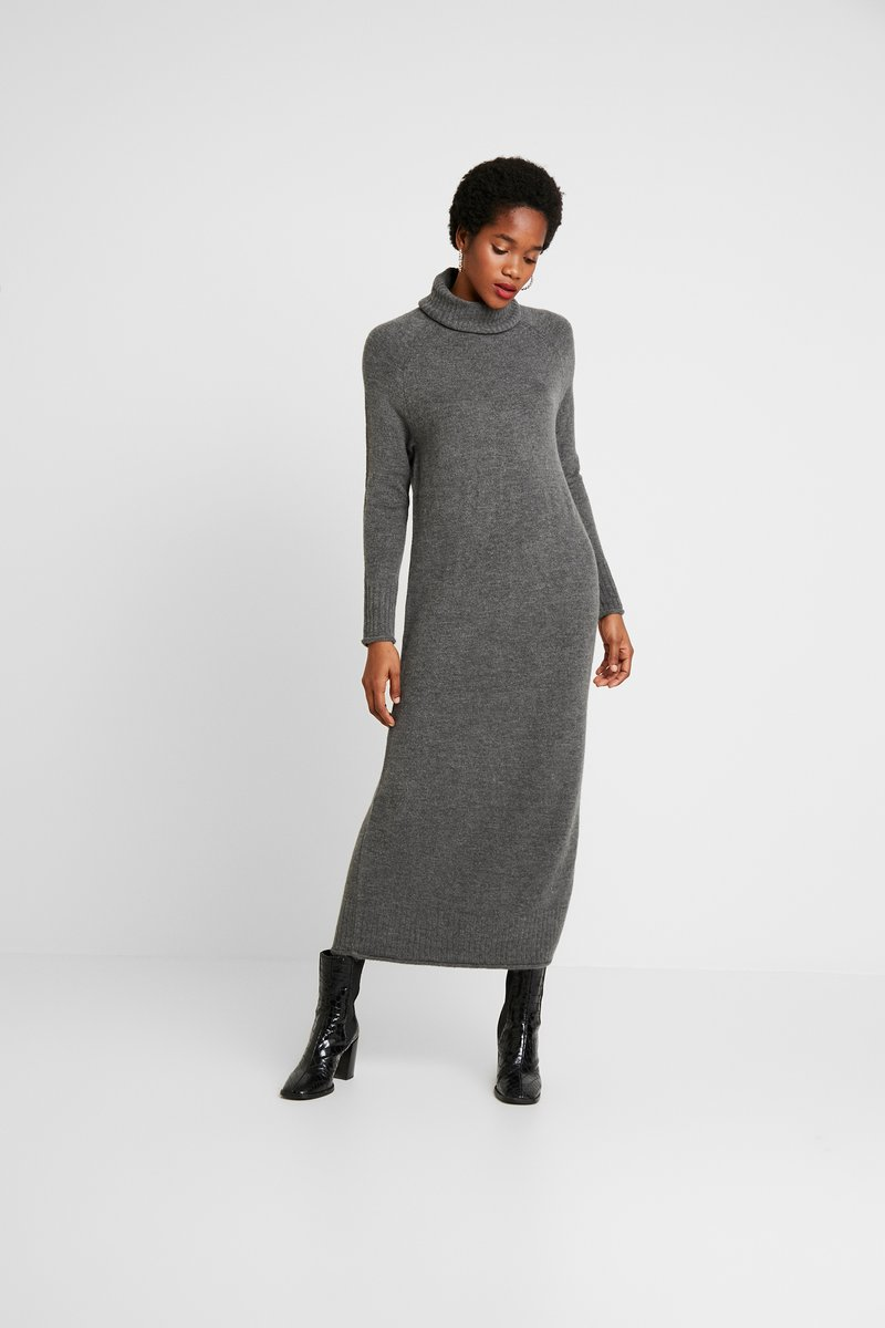 ONLY - ONLCLEAN ROLLNECK DRESS  - Maxi-jurk - medium grey melange