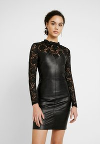 ONLY - ONLNANCY MIX DRESS - Day dress - black - 0