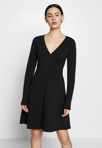 ONLY - ONLSALLY WRAP DRESS  - Trikoomekko - black - 0