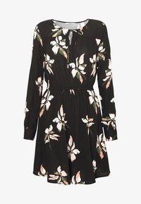 ONLY - ONLCARRIE TIE SHORT DRESS - Denní šaty - black/nature mix - 5