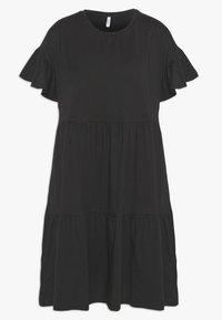 ONLY - ONLTENNA LIFE CUTLINE DRESS - Žerzejové šaty - black - 0