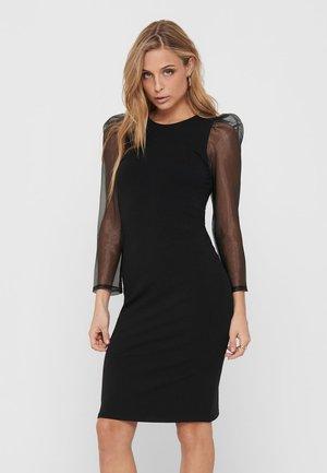MIDIKLEID LANGÄRMELIGES ORGANZA - Shift dress - black
