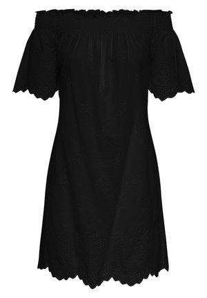 OFF-SHOULDER KLEID LOCHSTICKEREI - Day dress - black