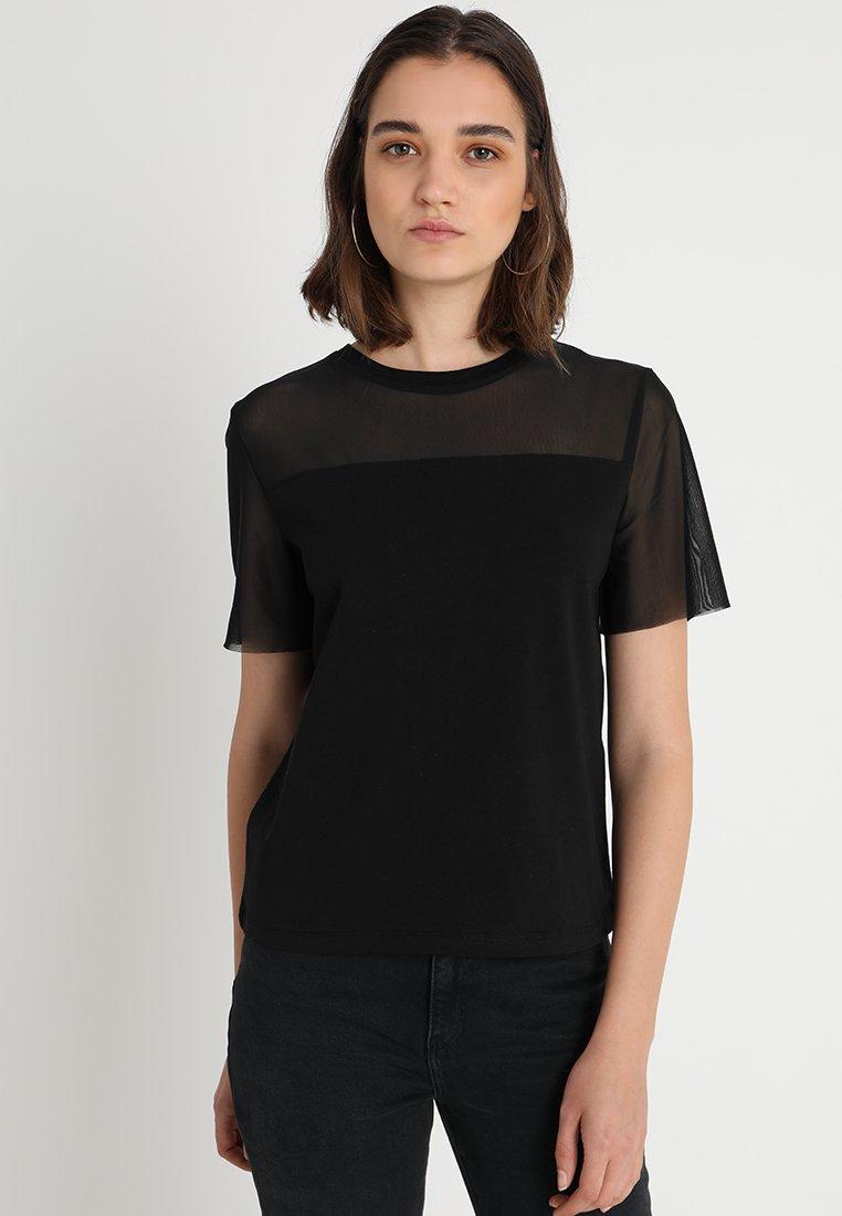ONLY - ONLLIVE LOVE TRENDY MESH SS O-NECK - T-Shirt print - black