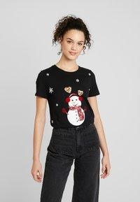 ONLY - ONLCHRISTMAS BLING BOX - T-shirts med print - black - 0