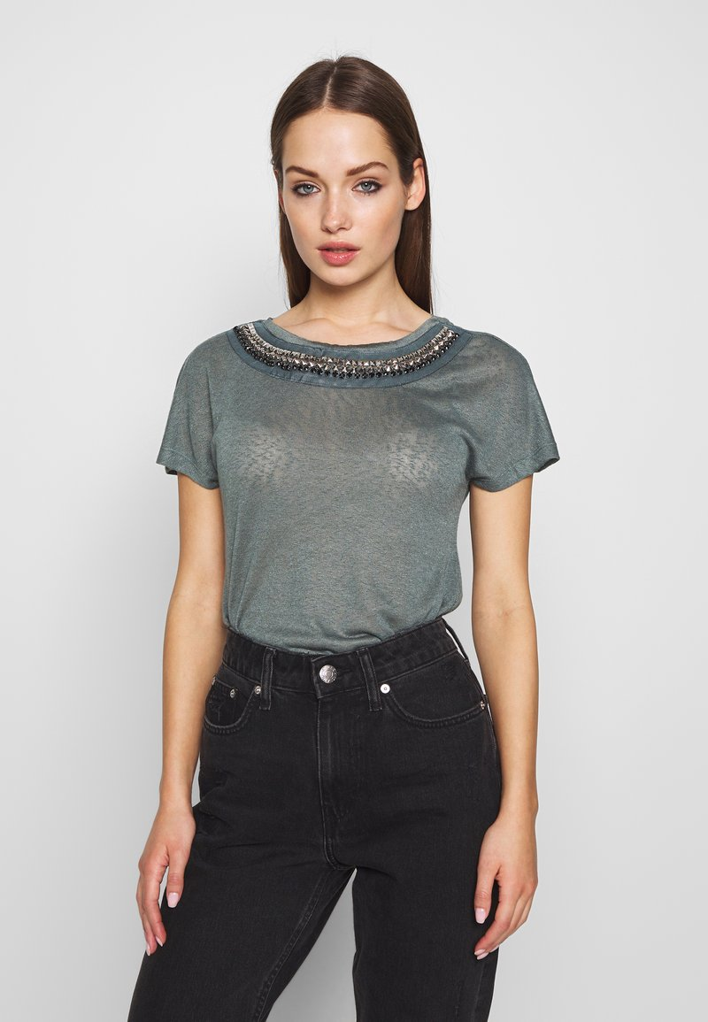 ONLY - ONLRILEY BLING - T-shirt con stampa - balsam green/embellishment