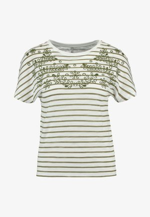 ONLSIGGI O NECK BOX - Print T-shirt - martini olive/cloud dancer