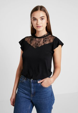 ONLAMILA CAP SLEEVE - T-shirt z nadrukiem - black