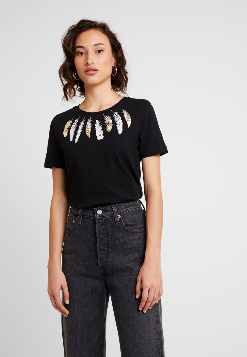 ONLY - ONLKITA FEATHER - T-Shirt print - black/feather bright white/gold