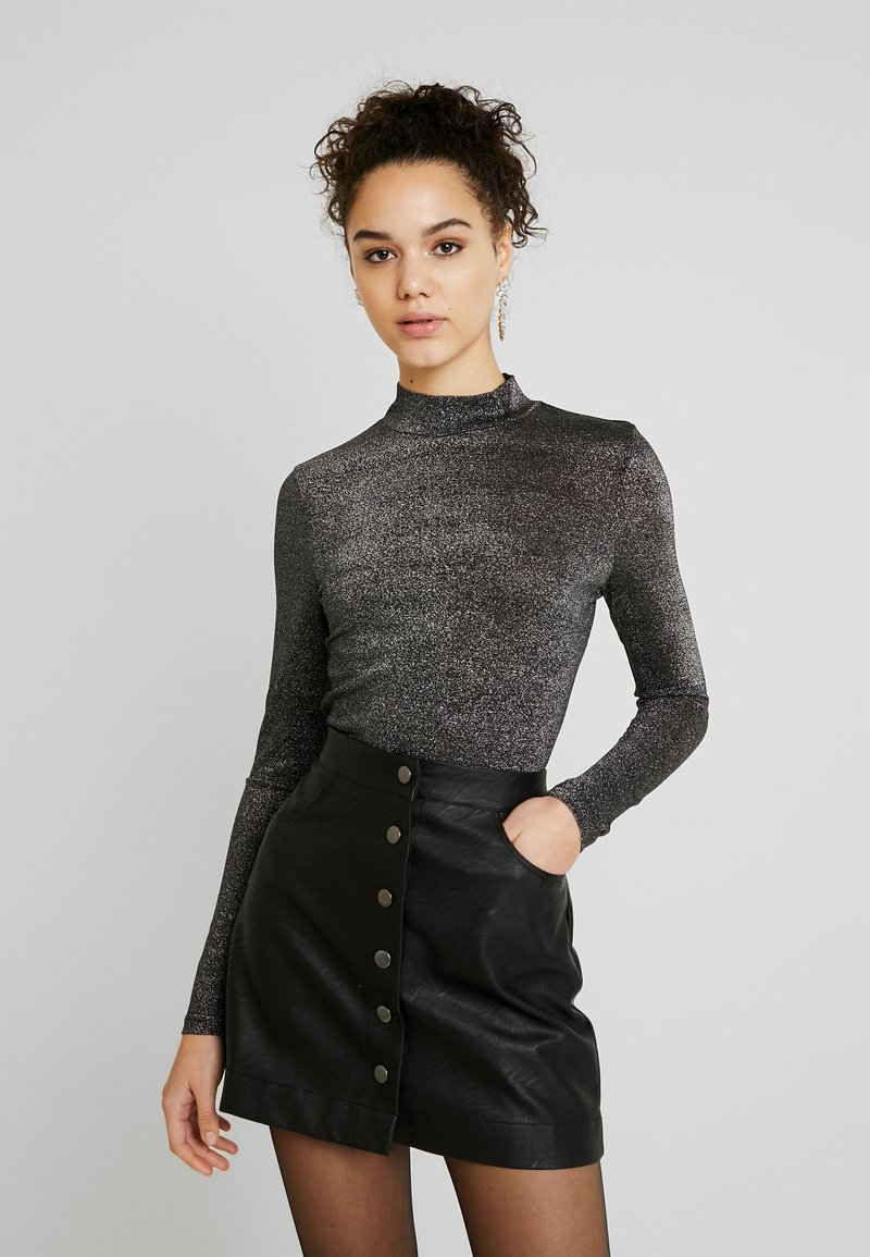ONLY - ONYGLADYS HIGH NECK GLITTER - Long sleeved top - black/silver